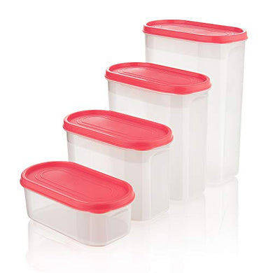 Asian Smart Stackable Storage Containers Set of 4 Red for Kitchen Storage