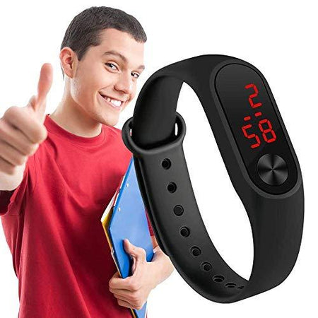 Silicone Slim Digital LED Black, Red Dial Boy's and Girl's Bracelet Band Watch -Combo Set of 3(Random Color) - halfrate.in