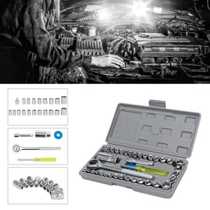 "Saleshop365® 40 pcs Multi purpose Combination Socket Wrench Set with 1/4"" Ratchet Handle - halfrate.in"