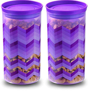 Asian Kitchen Queen Airtight Plastic Storage Containers, 1200Ml, Set of 2, Purple