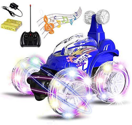 R/C Rechargeable 360 Degree Twisting Stunt Car with Music & Lights for Kids (Colors as Per Stock) - halfrate.in