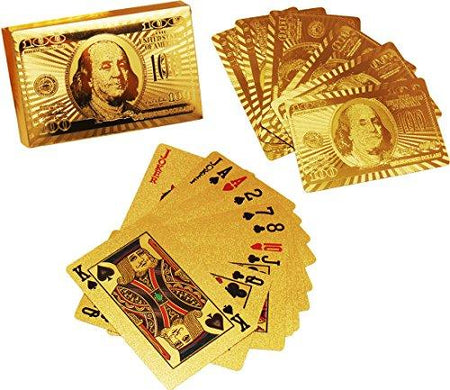 24 K Gold Plated Poker Playing Cards (Golden) - halfrate.in