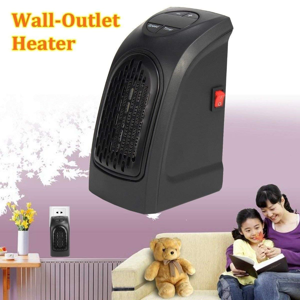 Electric Room Heater Compact Plug-in Wall Outlet Space Heater 400Watts Handy Air Warmer Blower Adjustable Timer Digital Display - halfrate.in
