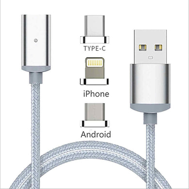 3 in 1 Magnetic Charging Cable for Lightening, USB Type C and Micro USB - halfrate.in