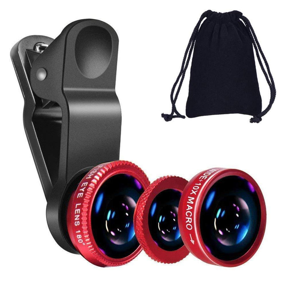 3 in 1 Cell Phone Camera Lens Kit -Fish Eye Lens, 2 in 1 Macro Lens & Wide Angle Lens Compatible for Android/iOS Devices - halfrate.in