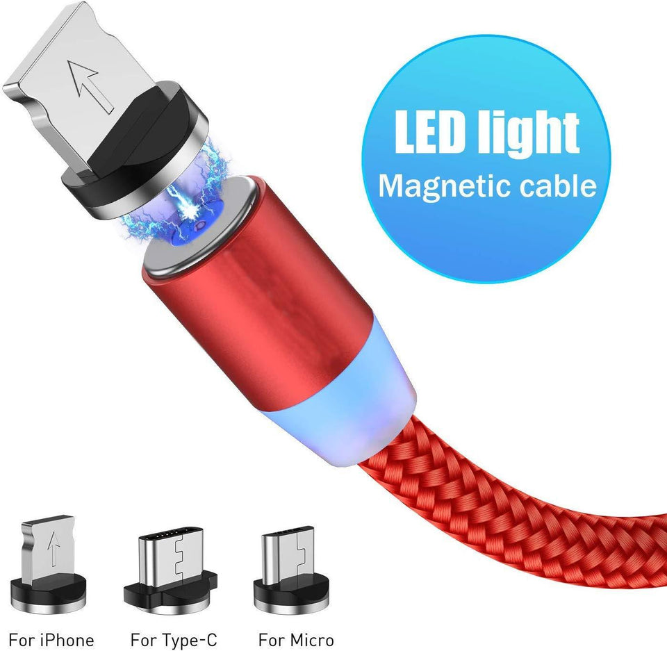 Magnetic USB Charging Cable, Multi 3-in-1 Cable Charger with LED light for Android, All Type C Mobiles and iOS Mobiles Fast Charging Cable - halfrate.in