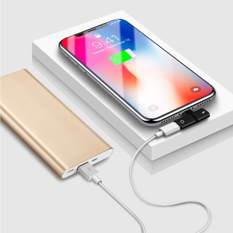 2 in 1 Mini Portable Charging Metal Splitter Audio & Charging Adapter Convertor for Apple iPhone X/8/8Plus/7/7Plus/6/6Plus - halfrate.in