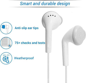 YS Earphones/Headphone with Ultra Bass & Dolby Sound 3.5MM Jack with Mic & Volume Control for All Samsung/Android/iOS Devices - (White) - halfrate.in