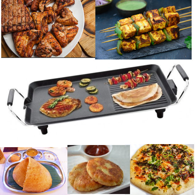 Electric Grill Dosa Tawa Pans Smokeless Non-Stick, Multi-Function Plug-in Electric Grill, Indoor Electric Grill