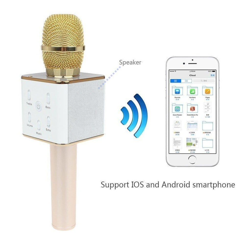Q7 Wireless Bluetooth Microphone Recording Condenser Handheld Microphone Stand With Bluetooth Speaker Audio Recording For Cell phone Karaoke Mike - halfrate.in