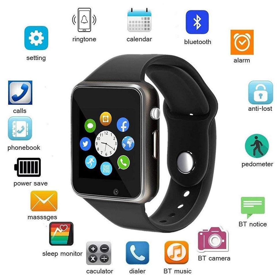 A1 Smart Watch with Camera and Sim Card Support with Apps Like Whatsapp and Facebook for All 3G & 4G Android/iOS Smart phones - halfrate.in