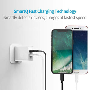 Dual port charger android mobile fast charger Adapter Wall Charger | Mobile Charger | Fast Charger | High Speed Charger with 1 M Micro USB Charging Data Cable (3.1 Amp, White) - halfrate.in