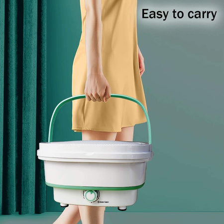 Mini Folding Washing Machine Portable, Foldable Compact Ultrasonic Small Automatic Electric Powered Cleaning Washer for Travel Home Business Trip