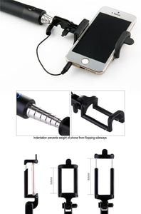 Ekdant® Selfie Stick Monopod for Mobile Phone for clicking Photos & Making Video with Attached AUX Cable | for iPhone and Android Mobile Phones - halfrate.in