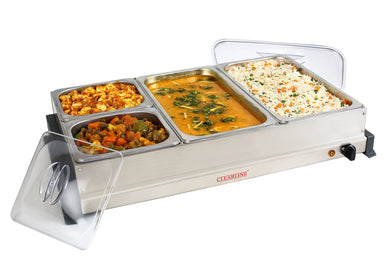 Clearline Stainless Steel  4 PAN SS FOOD WARMER AND BUFFET SERVER FWBS-02 - halfrate.in