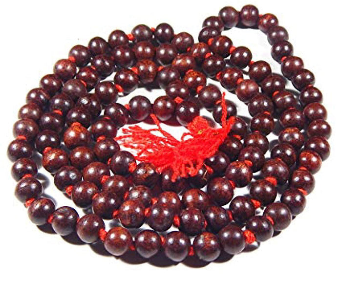 Red Chandan Japa Mala 108+1 Round Beads for Jaaps