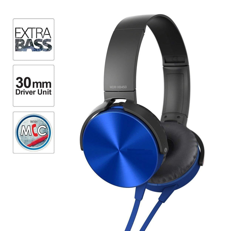Ekdant® MDR-XB450 Wired Headset Extra Bass On-Ear Headphone XB450 with 3.5mm Jack & in-Built Mic for Phone Calls & Tangle Free Cable Compatible with All Mobile Phones - halfrate.in