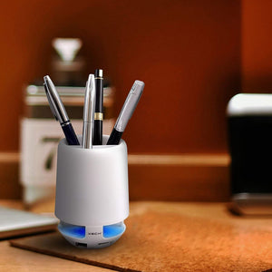 Ekdant® Bluetooth Pen Stand Speaker Phone Call Answering 3 in 1 Supported with Aux / SD Card Slot & USB Slot LED Brush Pot - halfrate.in