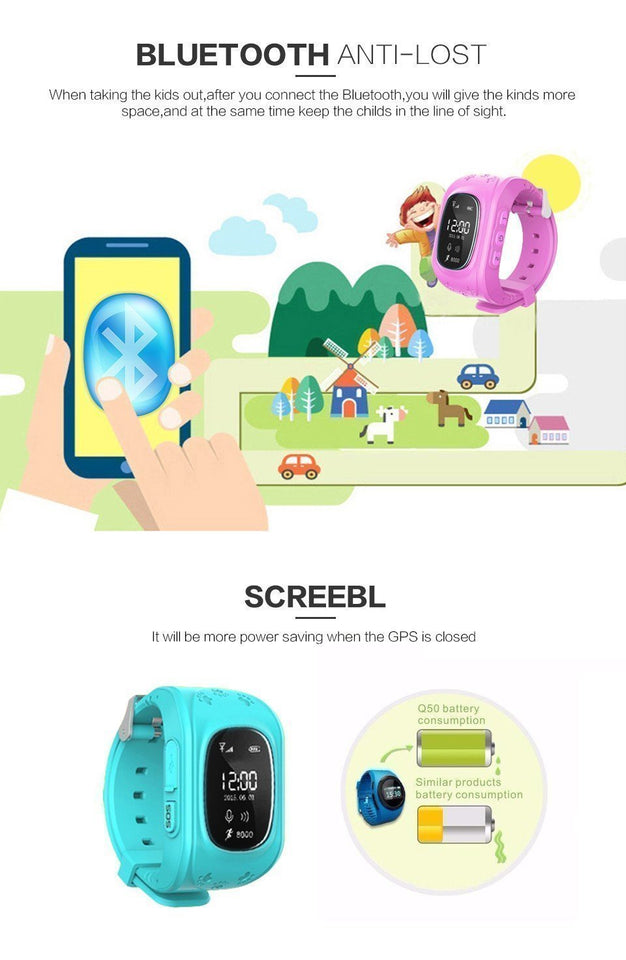Kids Smart Watch,Q50 Wrist Watch with Anti-Lost GPS Tracker SOS Call Location Finder SIM Card Slot Remote Monitor Pedometer Smart Watch for Kids - halfrate.in