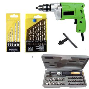 Saleshop365® Powerful Drill Machine 10mm with 13 HSS Bits 5 Masonry Bits and 41 pcs Screwdriver Toolkit - halfrate.in