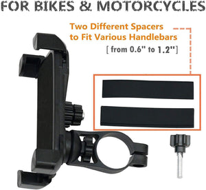 "Universal Bike Motorcycle Cell Phone Holder Mount Stand Bracket Fits for All Mobile Phones Size Upto 5.5"" inch Mount Holder Mobile Phones Bike Holder"