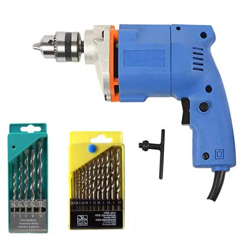 Saleshop365® Powerful 10Mm Drill Machine + 13 Pieces Hss Drill Set for Wood, Metal, Plastic and 5 Pieces Masonry Drill Set for Wall, Concrete - halfrate.in