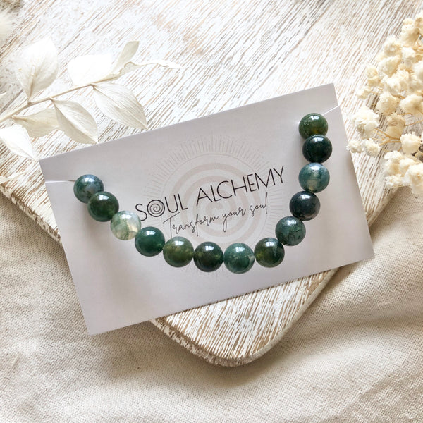 Moss Agate Power Bracelet