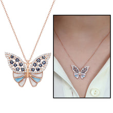 Load image into Gallery viewer, Women's Multi-color Zircon Gemmed Butterfly Pendant 925 Carat Silver Necklace