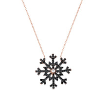 Load image into Gallery viewer, Women's Black Zircon Gemmed Snowflake Pendant 925 Carat Silver Necklace