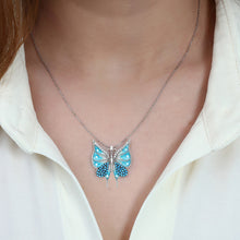 Load image into Gallery viewer, Women's Turquoise Zircon Gemmed Butterfly Pendant 925 Carat Silver Necklace
