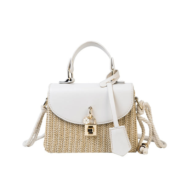 luxury wicker weaved summer beach shoulder handbag