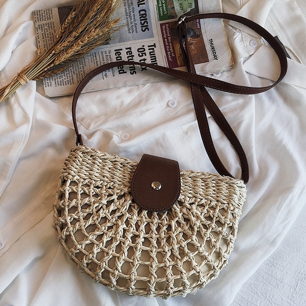 half moon shoulder summer beach straw bag