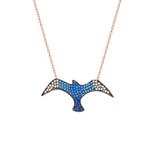 Load image into Gallery viewer, Women's Blue Zircon Gemmed Seagull Pendant 925 Carat Silver Necklace