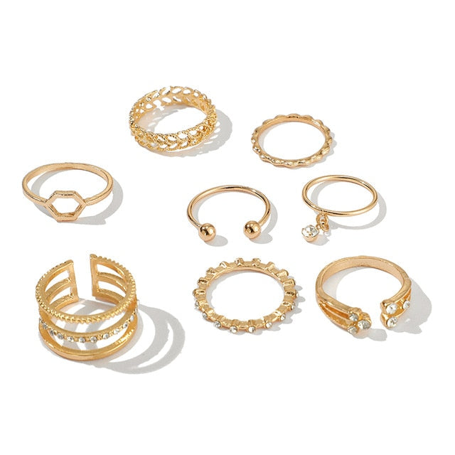8pcs/sets Bohemian Geometric Rings