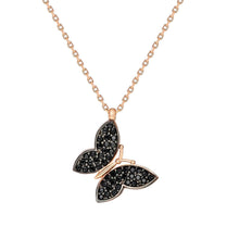 Load image into Gallery viewer, Women's Black Zircon Gemmed Butterfly Pendant 925 Carat Silver Necklace