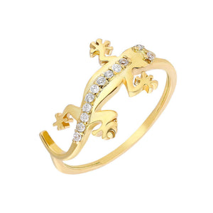 Women's Zircon Gemmed Gold Plated 925 Carat Silver Ring