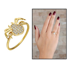 Load image into Gallery viewer, Women's Zircon Gemmed Spider Figure Gold Plated 925 Carat Silver Ring