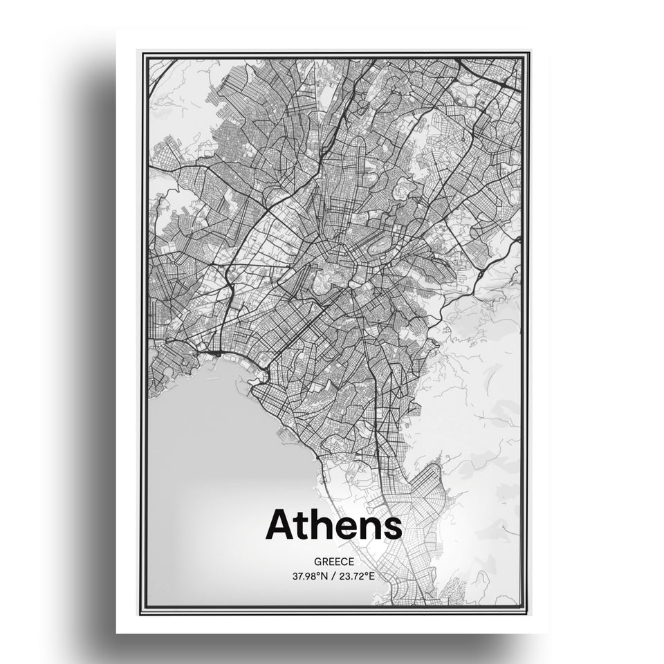 Athens map| art print