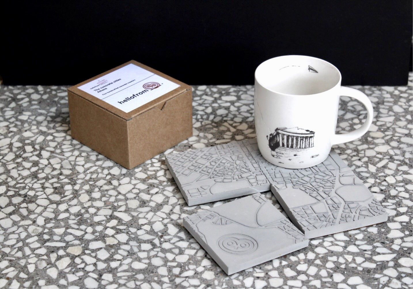 Athens map concrete coasters