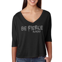 Black Be Fierce #BeYOU V-neck Half-Sleeve Cropped Top with Rhinestones