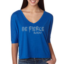 Blue Be Fierce #BeYOU V-neck Half-Sleeve Cropped Top with Rhinestones