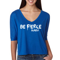 Blue Be Fierce #BeYOU V-neck Half-Sleeve Cropped Top
