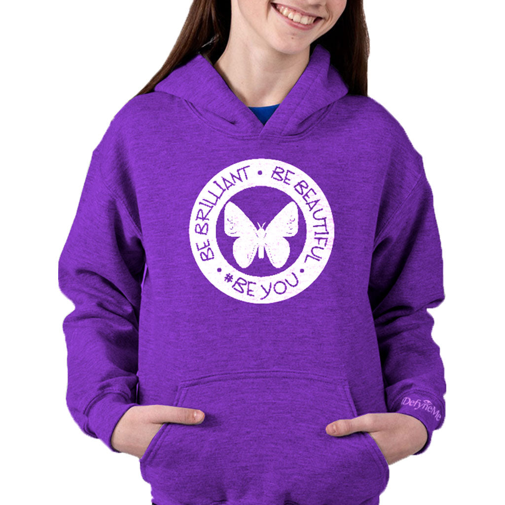 Girls Be Brilliant, Be Beautiful, #BeYou circle design hoodie