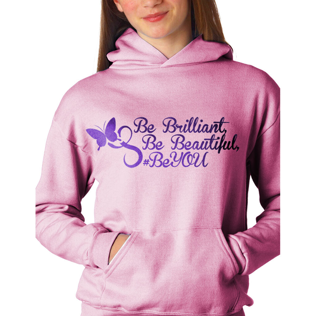 Girls Be Brilliant, Be Beautiful, #BeYou butterfly hoodie