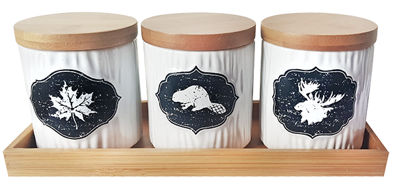 Canadiana Spice Jars set of 3