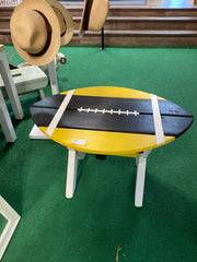 Painted Wooden Football Handcrafted Cedar Table