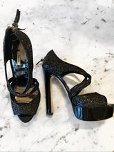 Load image into Gallery viewer, Miu Miu Black Glitter Platform Heel
