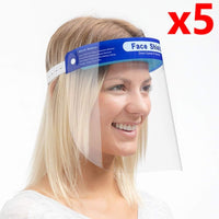 5 x Transparent Safety Face Shield Full Protection Cap Wide Visor, Adjustable, Easy to Clean, *Protective Film MUST Be Peeled Off* - The Catalogue Outlet