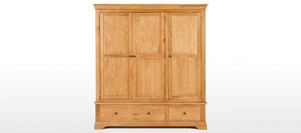 Constance Solid Oak & Veneer 3 Door 2 Drawer Wardrobe RRP £949 FREE UK Mainland Shipping - The Catalogue Outlet
