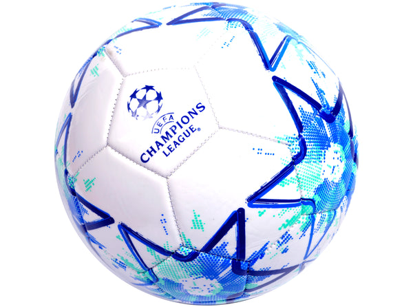 UEFA Champions League Licenced Football Size 5 White/Turquoise - The Catalogue Outlet